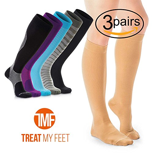3 Pairs of Compression Socks for Women Knee-high Compression Stockings Relieve Calf, Leg & Foot Pain - Graduated to Boost Circulation Women's Support Socks, Thigh High Stockings for Nurses and Runners by Treat My Feet