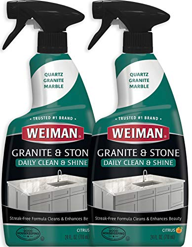 Weiman Granite Cleaner and Polish - 24 Ounce (2 Pack) for Granite Marble Soapstone Quartz Quartzite Slate Limestone Corian Laminate Tile Countertop