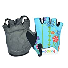 Yougle Padded Cycling Bicycle Gloves MTB Bike Racing Riding Skateboard Skating Half Finger For Kids Children M/L 6-10 Years Old