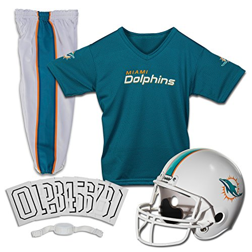 Marine Costume For Girls (Franklin Sports Deluxe NFL-Style Youth Uniform - NFL Kids Helmet, Jersey, Pants, Chinstrap and Iron on Numbers Included - Football Costume for Boys and Girls, Miami Dolphins,)