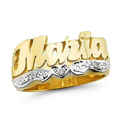 - Personalized Diamond Name Ring - Unisex Script Style Shiny 10MM Sterling Silver or Yellow Gold Plated Silver. Special Order, Made to Order.