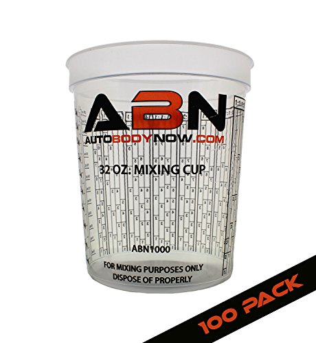 ABN Clear Plastic Mixing Cup 100-Pack 32oz Ounce/946mL Milliliter Container for Paint, Activators, and Thinner by ABN
