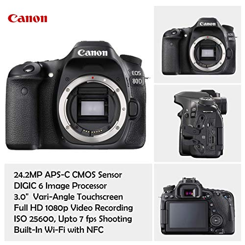 Canon EOS 80D DSLR Camera Deluxe Video Kit with Canon EF-S 18-55mm f/3.5-5.6 is STM Lens +Video Pro Microphone + SanDisk…