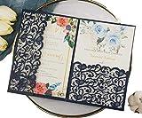 25 sets 5X7 Dark Navy Blue Tri Fold Wedding