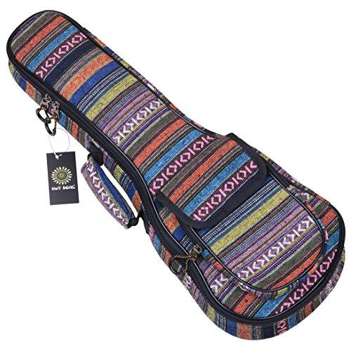 HOT SEAL 10MM Adjustable & ComfortableDurable Ethnic Ukulele Case Bag Bohemia style (21 in, New Bohemia)