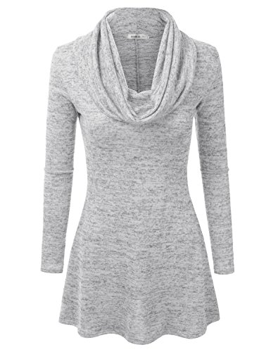 Doublju Womens Long Sleeve Cowl Neck A-Line Tunic Sweater Dress (Made In USA) HGRAY SMALL