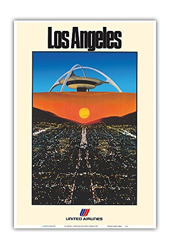 Los Angeles - United Air Lines - LAX Theme Building - Vintage Airline Travel Poster by Pete Turner c.1979 - Master Art Print - 13in x ()