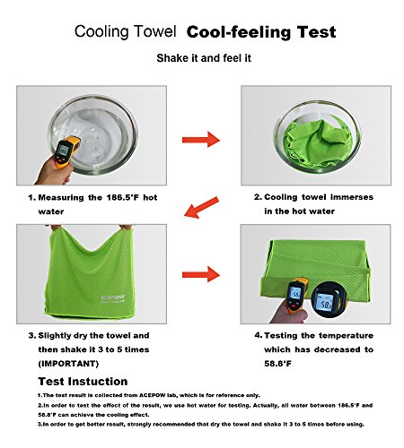 "Acepow Cooling Towel for Instant Relief -40""x12"" Ultra Soft Breathable Fabric Chilling Neck Wrap Headband Sports Towel for Running, Biking, Gym, Yoga, Travel, Golf, Tennis & More"