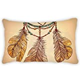Polyester Pillow Cover Ethnic Style Feather Pattern Bolster Throw Lumbar Pillow Case Cushion Cover for Couch Sofa Home Decorative 12x20 Inches