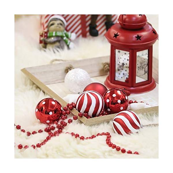 Victor's Workshop Addobbi Natalizi 35 Pezzi 5cm Palle di Natale, Oh Deer Red e White Shatterproof Christmas Ball Ornaments Decoration for Christmas Tree Decor 6 spesavip