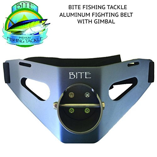 Bite Fishing Tackle Big Game Aluminum Fighting Belt with Gimbal & Adjustable Waist Strap in Gun Metal Color.