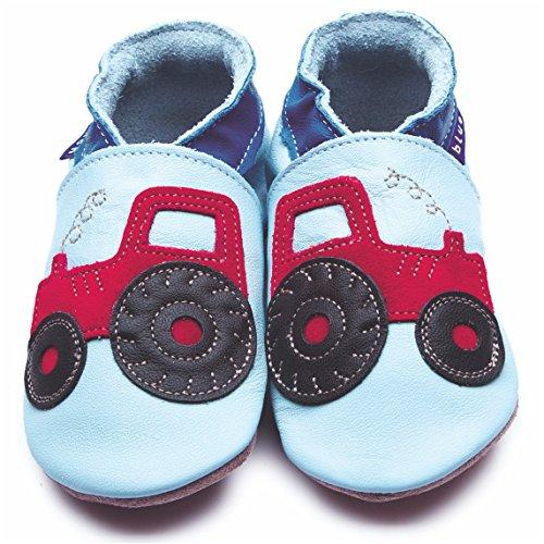 Inch Blue Mädchen/Jungen Schuhe für Den Kinderwagen Aus Luxuriösem Leder - Weiche Sohle - Traktor Hellblau