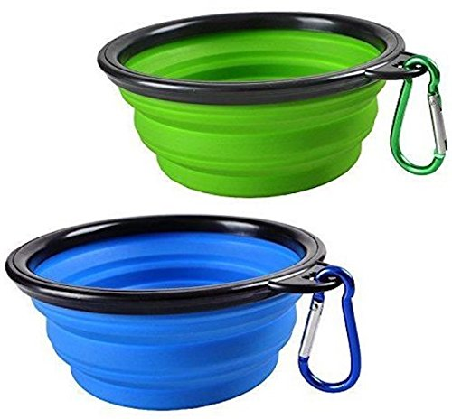 Bartz Collapsible Pet Bowl for Large Breed ,The TPE Material of Safety ,Non-Toxic and Environment-Friendly, Easy to Clean, Portable Travel Dog Bowl for Camping & Hiking. (Blue+Green)