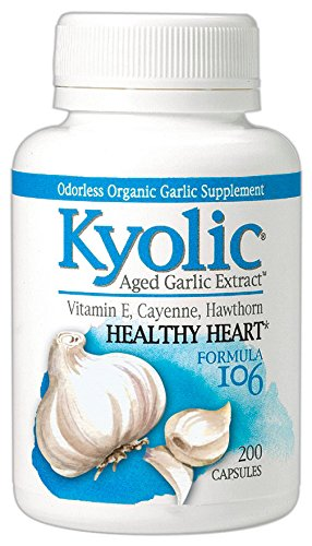 Kyolic Aged Garlic Extract Formula 106 Circulation (200 Capsules) Heart Healthy Odorless Organic Garlic Supplement, Soy- Dairy- Gluten-Free, Gentle on the Gut Garlic Pills - Hawthorn Garlic