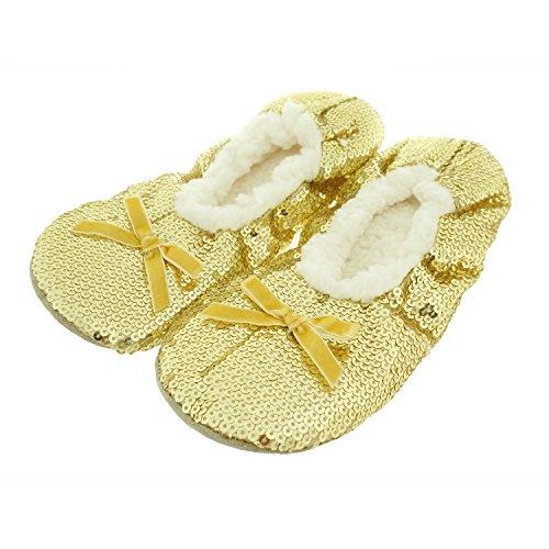 Womens Sequin Metallic Knot Frenulum Shine Zegee Slippers Butterfly Gold Bling Cozy Ballerina qEzxw0B