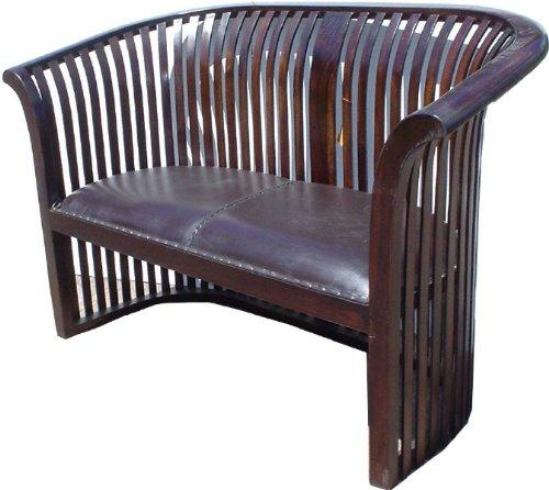Kolonialstil-Sofa aus Teakholz / Sitzmöbel mit Lederbezug