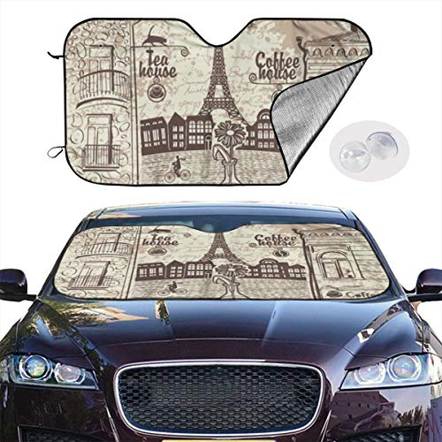 - Car Windshield Sun Shade Parisian Cafe Eiffel Tower Foldable Auto Sun Shade Damage Free Universal Fit Cars Truck Van SUV 51x27.5 Inches