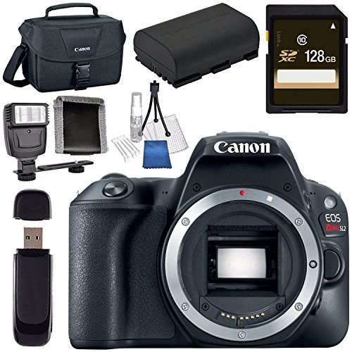 Canon EOS Rebel SL2 DSLR Camera (Black) 2249C001 + 128GB SDXC Card + LPE-17 Lithium Ion Battery + Universal Slave Flash unit + Canon 100ES EOS shoulder bag + Memory Card Wallet Bundle by Canon