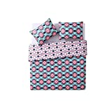 MP 3 Piece Girls Blue Hot Pink Southwest Comforter King Set, All Over South West Aztec Tribal Bedding, Multi Color Ikat Native Western American Tribe Themed Pattern, Light Navy Teal