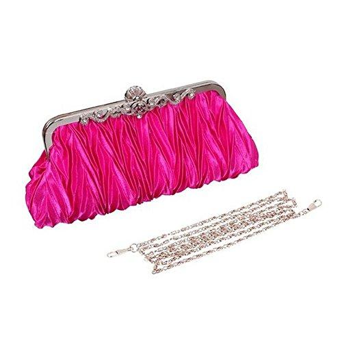 Satin Strap with Purse Cocktail Womens Hosaire Clutch Rose Evening Golden Detachable Party Wedding Shoulder Chain Bag Handbag 5qfwU64w