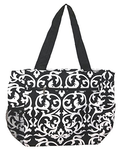 Large Tote Bag | 13.5 Inch Shopping or Beach Bag by Unique Traveler (Damask Print)
