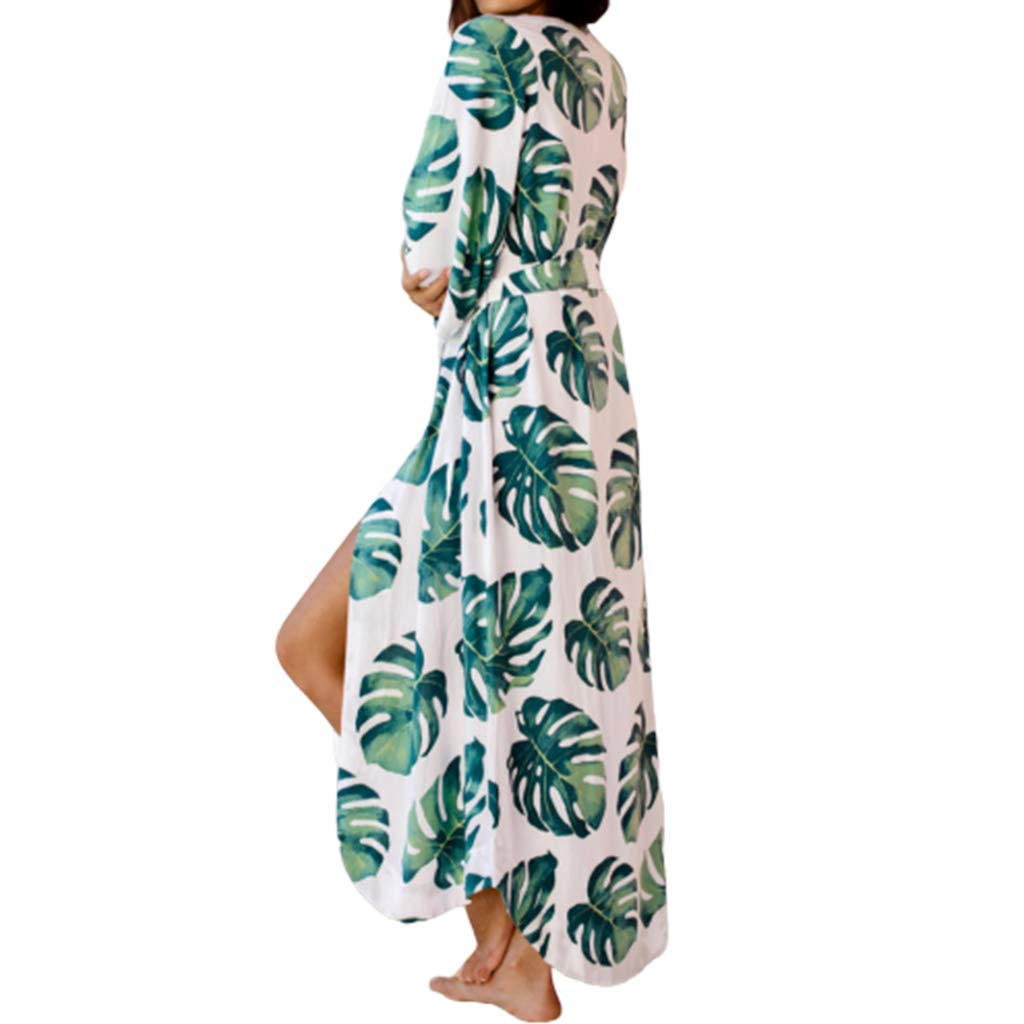 XIAO-WU Women Vacation Swimsuit Cover Up Green Tropical Leaves Open Front Kimono Cardigan Belted Irregular Curved Hem Beach Bath Robe by XIAO-WU