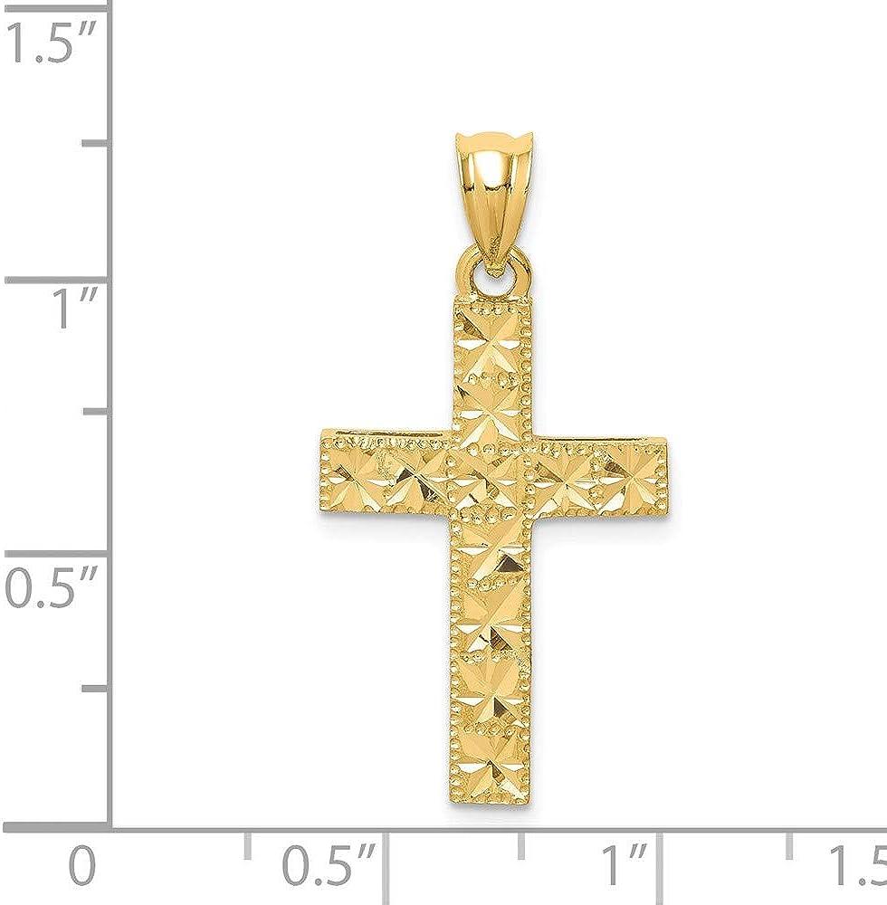 14k Yellow Gold Polished /& Diamond-cut Cross Pendant