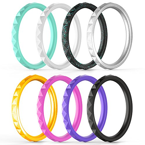 ThunderFit Thin and Stackable Silicone Rings, 8 Pack | Singles Pack | Silicone Wedding Bands for Women - Diamond (Six Diamond Band)