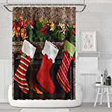 Darkchocl Home Decor Shower Curtain with Hook,Christmas Stocking on Fireplace Fabric Shower Curtain, 72 x 72 inch Waterproof Polyester Bathroom Curtain