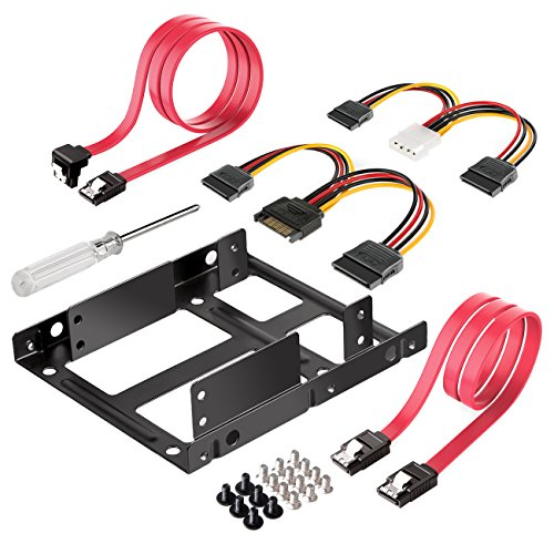 Inateck 2x 2.5 Inch SSD to 3.5 Inch Internal Hard Disk Drive Mounting Kit Bracket (SATA Data Cables and Power Cables included) (ST1002S)
