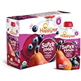 Happy Tot Organic Super Foods Pouch Stage 4 Pears Blueberries & Beets + Super Chia, 4.22 Ounce Pouch (Pack of 16) (Packaging May Vary) Mess Free Pouch for Self Feeding Simple Organic Ingredients