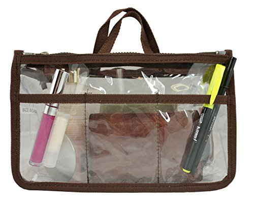 Price comparison product image Clear Handbag Organizer See Through Cosmetic Gadget Insert Purse Organiser Transparent Makeup Travel Pouch Liner with Handle Brown
