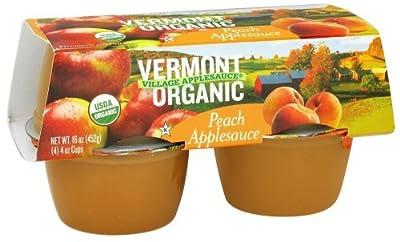 Vermont Village Cannery Applesauce Cup Peach Org 4pk, 16 Oz