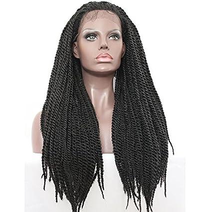 platinumhair negro Twist trenzado Pelucas Peluca Lace Front sintético resistente al calor para mujer 26 pulgadas