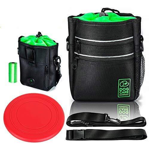Dog Treat Training Pouch | Hands Free, Kibble,Keys,Toys Carrier - Built-in Poop Bag Dispenser- Adjustable Waist Belt, Shoulder Strap, Clip on