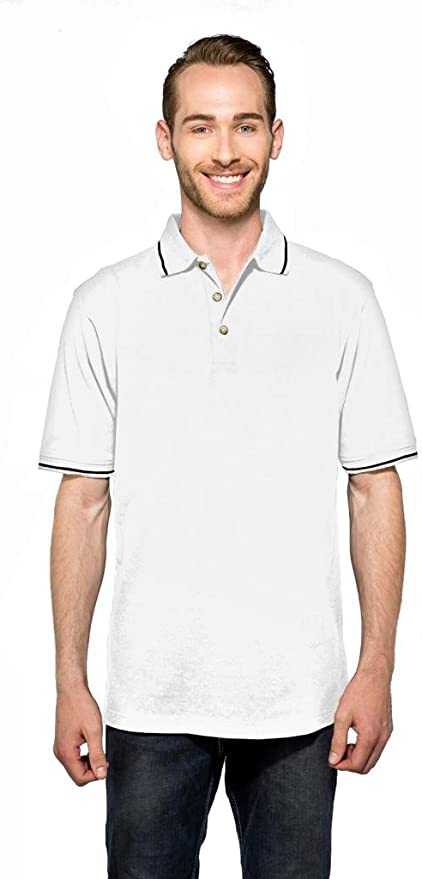 SIDE VENTS TALL LT-4XLT MEN/'S EASY CARE COTTON//POLY POLO SHIRT CONTRAST TRIM