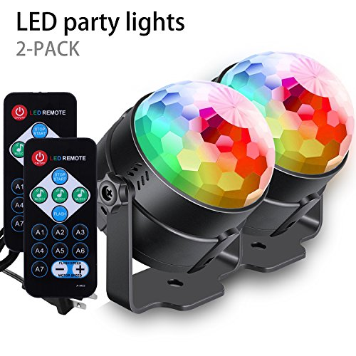 [2-Pack] AFBEST LED Party Lights with Remote Control Dj Lighting, Lamp 7 Modes Stage Par Light for Home Room Dance Parties Birthday DJ Bar Karaoke Xmas Wedding Show Club Pub by AFBEST
