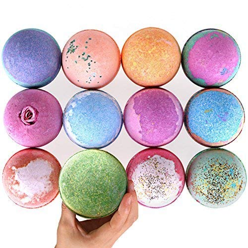 - RoseVale Bath Bombs Gift Set Huge 5Oz Bath Bombs, Natural Vegan and Handmade, Assorted Bath Fizzies Including Candles (12 Bath Bombs & 12 Candles)