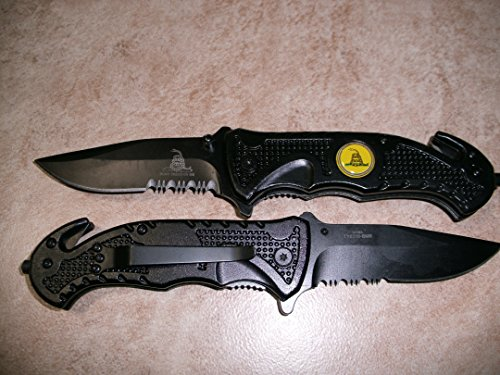2x-2-Rogue-River-Tactical-Knives-US-Marine-Corps-Dont-Tread-On-Me-Spring-Assisted-Rescue-Pocket-Knife-Black-Drop-Point-Blade-Gadsden-Flag-Patriot-Military-Great-Gift