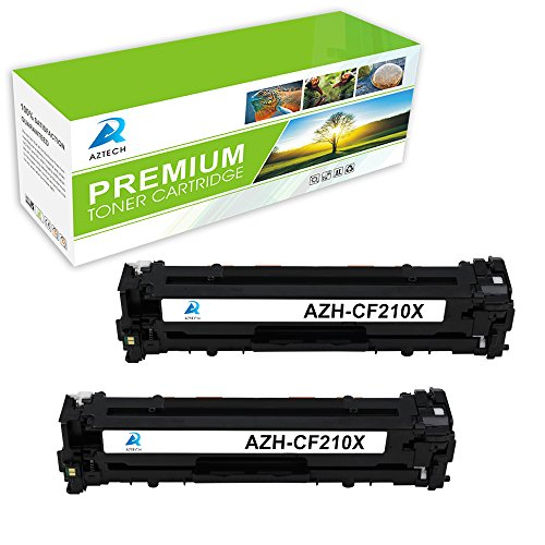 Aztech 2 Pack Replaces HP 131X CF210X Black Toner Cartridge High Yield 2,400 Pages For HP LaserJet Pro 200 color M251n M251nw MFP M276n M276nw, Canon imageClass MF8280Cw