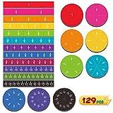 129pcs Magnetic Rainbow Fraction Tiles Circles