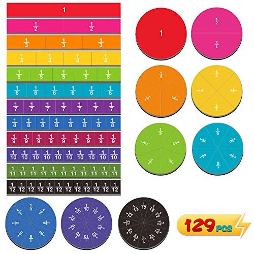 129pcs Magnetic Rainbow Fraction Tiles Circles