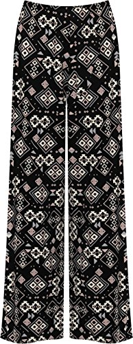 WearAll - Grande taille floral imprimé pantalons jambe large palazzo - Noir Rose - 48-50