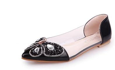 4e6189193396 Womens Ballerina Ballet Flats Rhinestone Slip on Flat Shoes(Black34 3 B(M