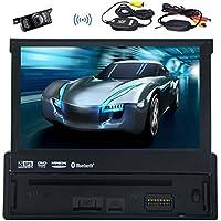 EinCar Single Din 7 Inch GPS Car DVD Player In Dash Navigation Head Unit Touch Screen Car Radio Bluetooth AM FM Audio iPod USB SD Steering Wheel Control+Rear Camera+8GB Map Card