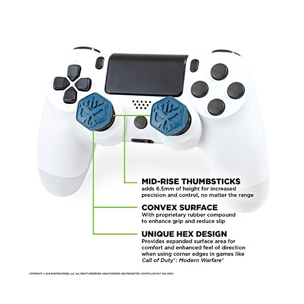 KontrolFreek Call of Duty Modern Warfare Performance Thumbsticks for PlayStation 4 (PS4) | 2 Mid-Rise, Convex | Blue… 2