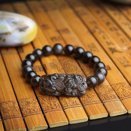 O-stone Bracelet en obsidienne d'œil d'arc-en-ciel de glace colorée le Pixiu Fils du dragon 10mm Pierre de protection pour femmes