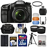 Sony Alpha A68 Digital SLR Camera & 18-55mm Lens with 32GB Card + Battery + Case + Tripod + Filter + Tele/Wide Lens Kit