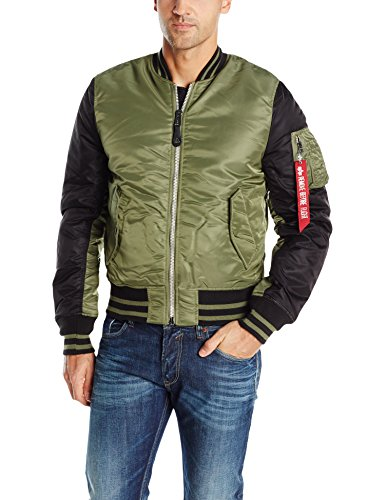 Alpha Industries Men's MA-1 Varsity Flight Bomber Jacket, Sage/Black, Small by Alpha Industries