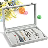 Wuligirl Ice Velvet 20 Hooks Jewelry Showcase for Necklaces Jewelry Box Stackers Glass Top With Lock (Necklace Box)
